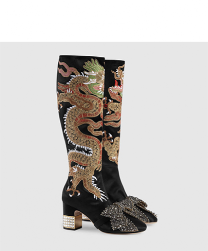 Dragon satin mid-heel knee boot