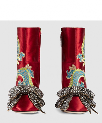 Dragon satin mid-heel ankle boot